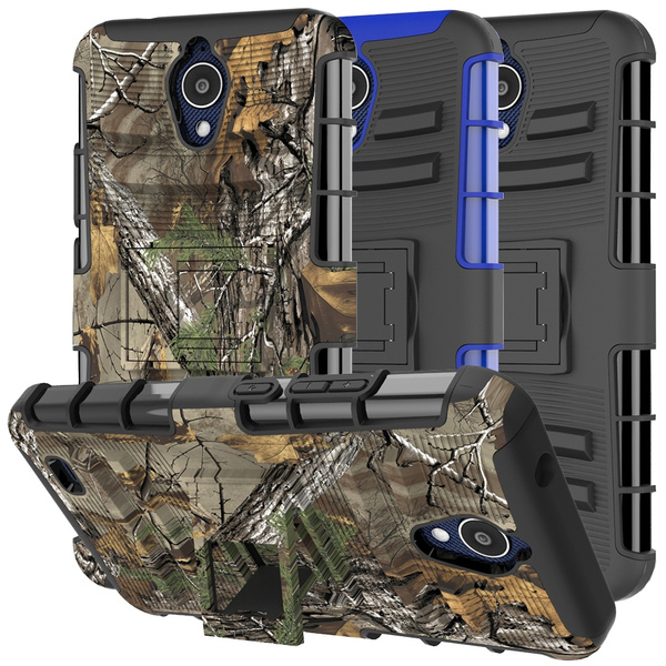 For AT&T AXIA Case, AT&T AXIA QS5509A / Cricket Vision DQON5001 Case Rugged  Armor Hybrid Shockproof Kickstand Phone Cover