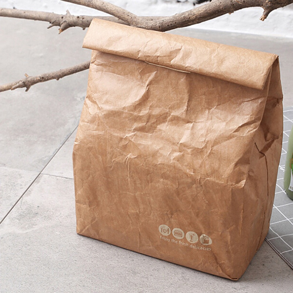 Brown Paper Lunch Bag Reusable Insulated Thermal Cooler Sack Magnetic Closure  I