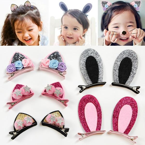 Kid Girl Cute Cat Ear Hairpin Hair Clips Rabbit Barrettes Headdress Accessories