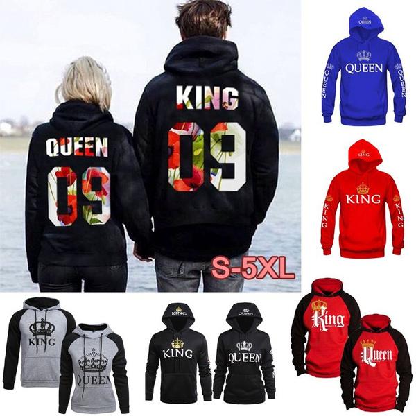 Men Women King and Queen Hoodies Jumper Sweater Tops Lover Couples Sweatshirts