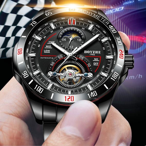 Militaire Hommes Mécaniques Boyzhe Homme Montre Phase Horloge Montres Calendrier Tourbillon De Lune Lumineuse eEYHIDW29b