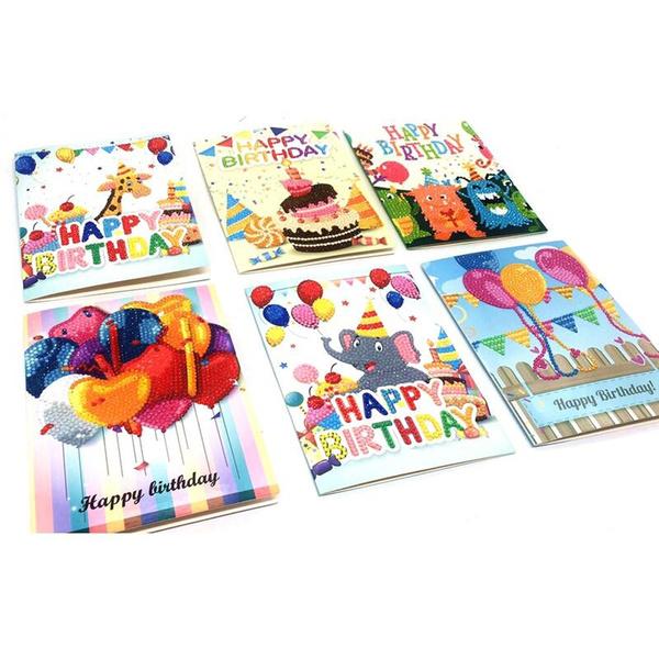 Diy Greeting Cards Gifts Stationery New 3 6 Pcs Set Birthday Greeting Cards Jewelry 5d Diy Diamond Painting Birthday Cards Set Diy Handmade Diamond
