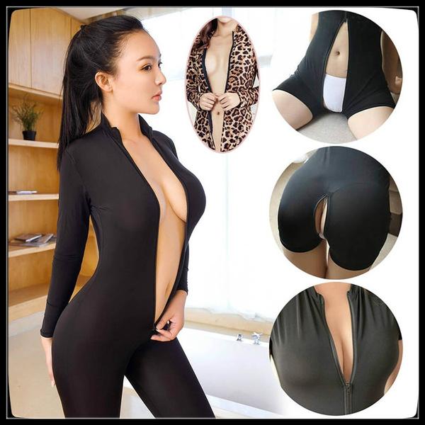 8db7752eb4541 Dame Black Striped Sheer Sexy Bodysuit Smooth Fiber 2 Zipper Long Sleeve  Jumpsuit-Wish数据查询分析工具软件-卖家网