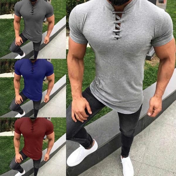 Men Fashion Summer Short Sleeve Slim Fit T-Shirt Gym Sport Blouse Top Muscle Tee