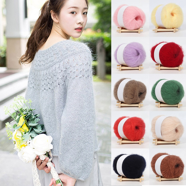 25g Soft Women Knitting Wool Yarn Mohair Cashmere Crochet Thread Hat Angora
