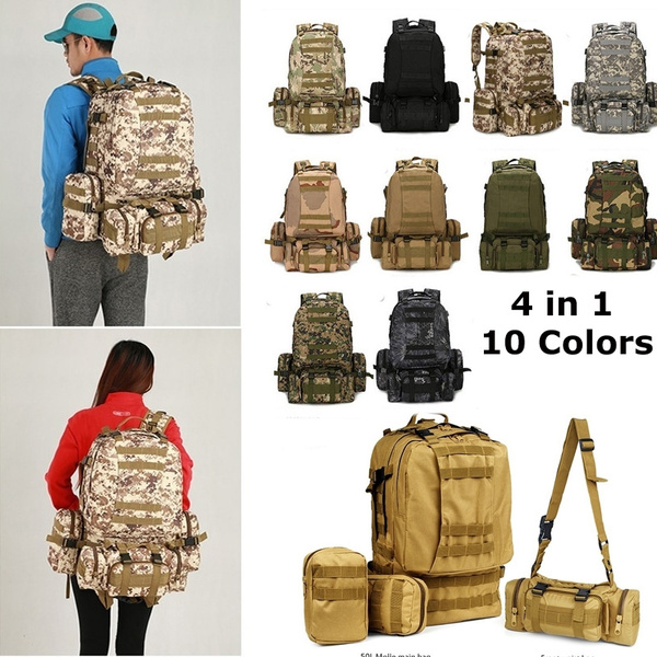 Tactical Military Backpack Nylon Camping Hiking Backpack Waterproof Bag 4in1 50l