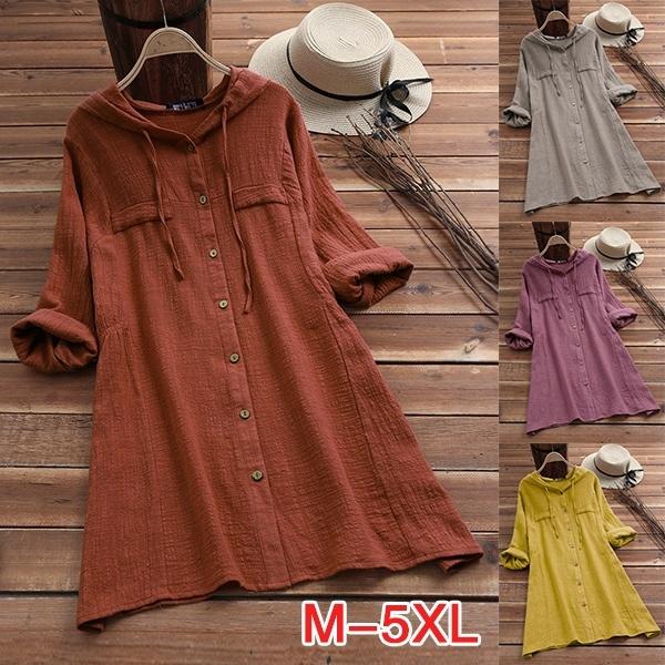 Plus Size, Long Sleeve, blouseswomen, Tunic dress