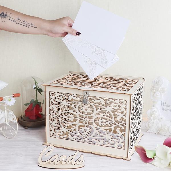 Card Box Wedding.Ourwarm Elegant Wedding Card Box Wedding Money Box Wooden Wedding Card Box With Lock For Rustic Wedding