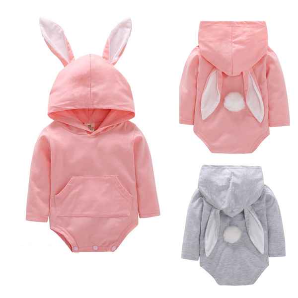 Baby Girls Boys Cartoon Rabbit Ear Hooded Romper Jumpsuit Outfits