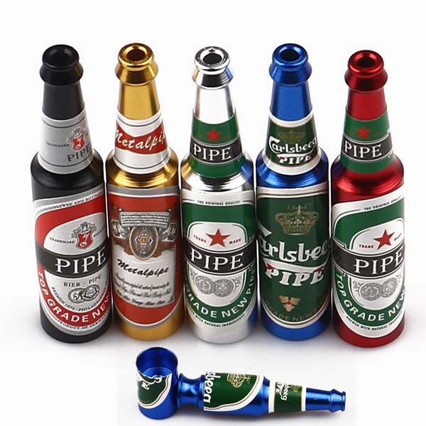 Creative Mini Beer Metal Smoke Tobacco Pipes Portable Creative Smoking Pipe  Herb Tobacco Pipes Gifts Narguile Grinder Smoke 6 Color