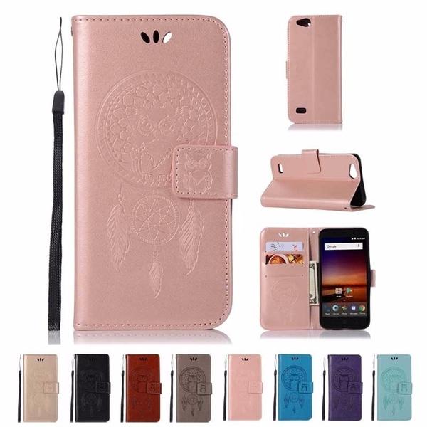 Litchi Leather slot wallet stand flip Cover Case For ZTE AVID 557 / ZTE  TEMPO GO/ZTE ZFive G LTE Z557BL / ZTE ZFive C Z558VL