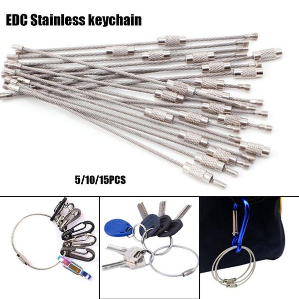 Rope Screw Wire Keyrings Key Holder Stainless Steel Carabiner EDC Keychain