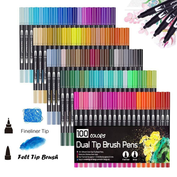 Dual Tip Art Marker Pens Fine Point Bullet Journal Pens & Colored Brush Markers For Kid Adult Coloring Books Drawing Planner Calendar Art Projects by Wish