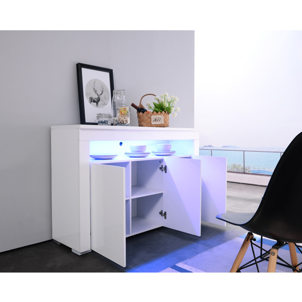 White mecor Kitchen Buffet Cabinet,High Gloss LED Sideboard,Storage Server Table with 3 Doors and Open Topper Shelf