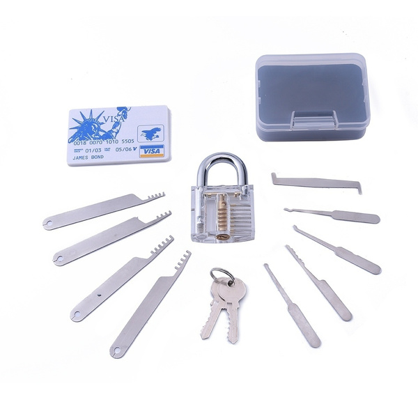 Lock Pick Tool 4pcs Comb Pick Stainless Steel Lock Tool with Lock Pick Set  and Visable Padlock for Locksmith Beginner Practice Training