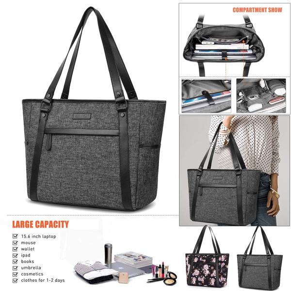 758ace16a6d 15.6 inch Laptop Tote Bag for Women Classic Nylon Work Tote Bag Shopping  Bag Carry Travel Business Briefcase Shoulder Bag Handbag