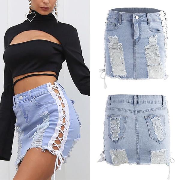 7ca83b488d80 Punk Rock Lace Up Blue Denim Short Skirt Hole Ripped Skirt Women ...