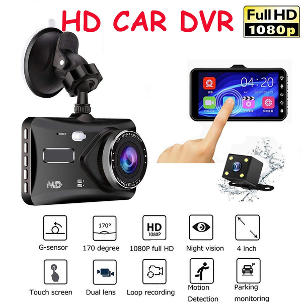 """4/"""" HD Display Car Dual Lens DVR Video Recorder Night Vision with Rearview Camera"""