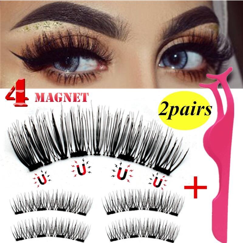 54e552bd570 4PCS Double Magnetic 3D Eyelashes Handmade Reusable False Long Magnet Eye  Lashes