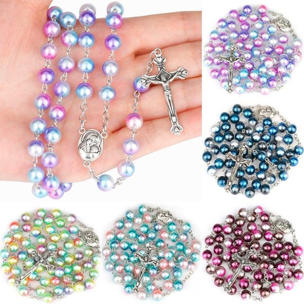 Christian, pearls, Cross Pendant, women necklace