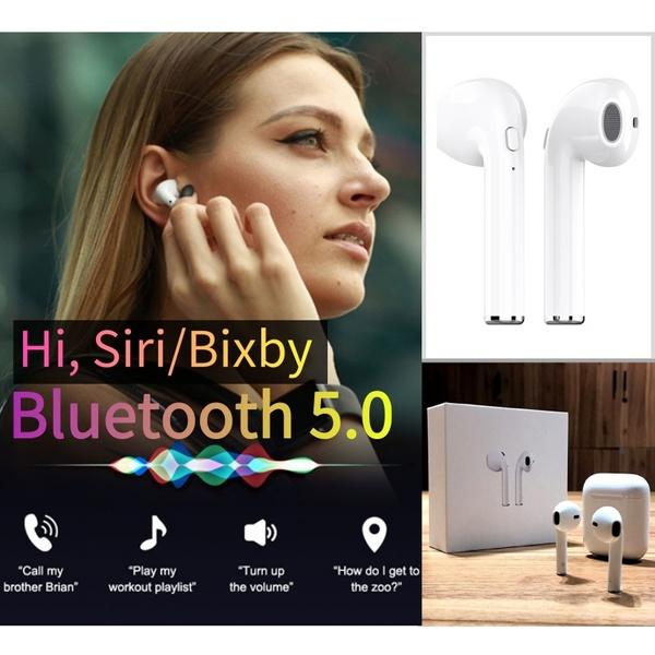 [New Bluetooth 5 0, Voice Assistant] Wireless Bluetooth Earbuds, Talk To  Apple Siri / Samsung Bixby, Bluetooth Auto-On&Fast-Pairing Headphones,