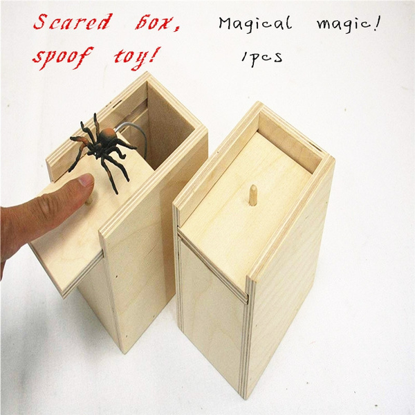 Novelty Hilarious Scary Box Spider Prank Wooden Scarybox Joke Gag Toy No Word Gags & Practical Jokes Toys & Hobbies