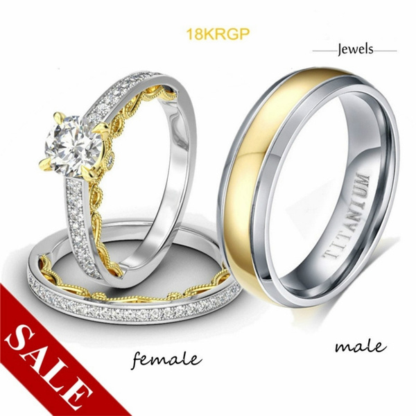 Couple Ring Jewelry Princess Cut 3t Filled Aaa Diamond Ring Ms