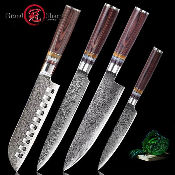 Grandsharp 4 Pcs Damascus Kitchen Knife Set Japanese Damascus Steel Kitchen  Knives Chef Santoku Slicing Utility Kitchen Knife Cooking Tools Gift Box