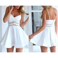 Summer, Fashion, vest dress, Lace