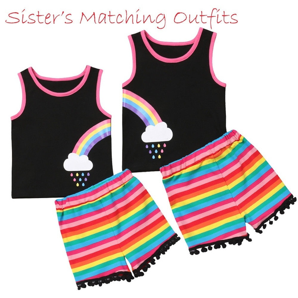 Summer Sister Matching Baby and Toddler Twin Girl Rainbow Jumpsuit Romper Dress