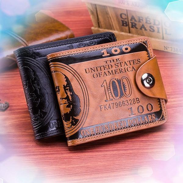 Nuove Tasche Da Uomo Classiche Tasche In Pelle Da Uomo Porta Carte Di Credito Identificazione Ap Portafoglio Dollaro Americano Con Fibbia Magnetica