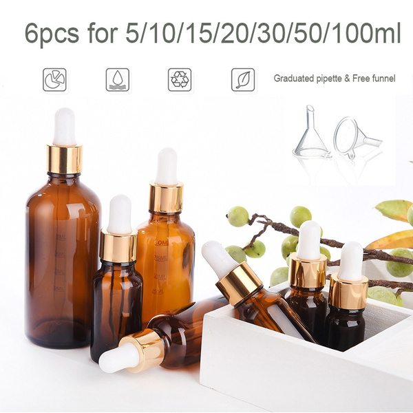 f5e2fed1b4c9 5-100ml Glass Dropper Bottle Vape Bottle Eliquid Bottle Perfume Bottle  Essential Bottle with Measured Marked Dropper Top W/ Glass Eye Dropper  Pipette ...