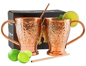 Copper, Set, Gifts, straw