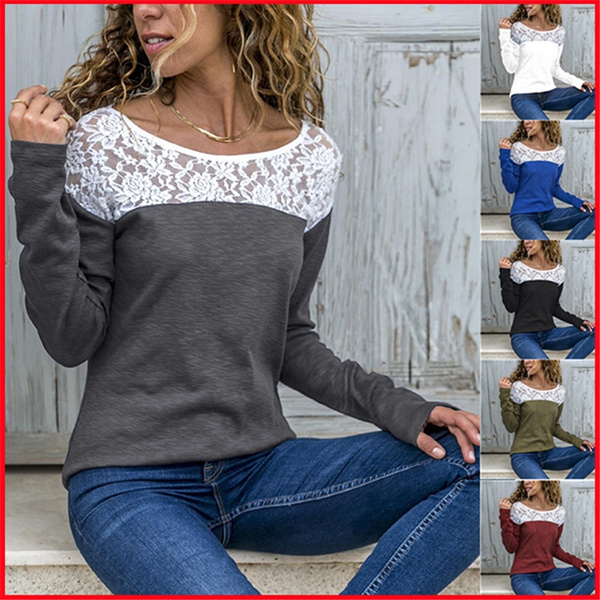 Plus Size, Lace, solidcolortshirt, Long Sleeve