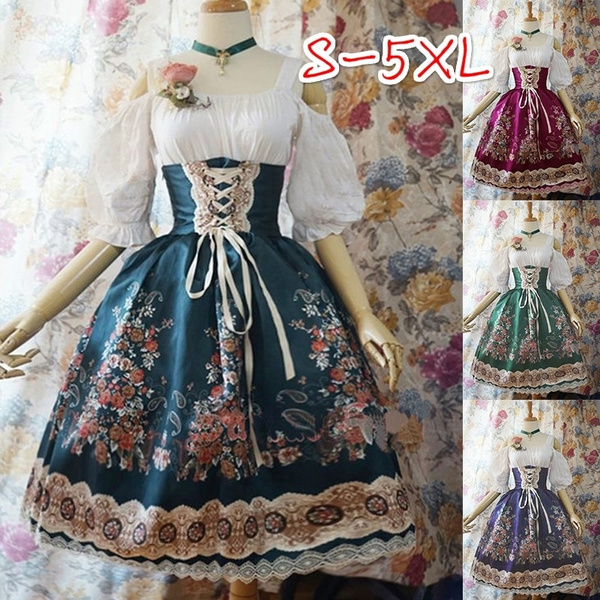 Plus Size Women Girls Lovely Floral Print Lolita Dress Off Shoulder ...