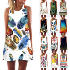 Sleeveless dress, fashion women, Print Dresses, skull