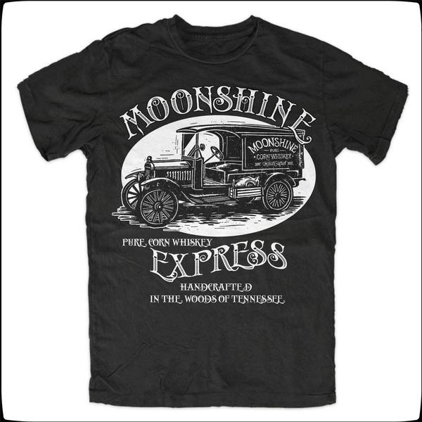 Moonshine Express T-Shirt Whiskey Rockabilly Redneck Vintage Rebel Fun KULT