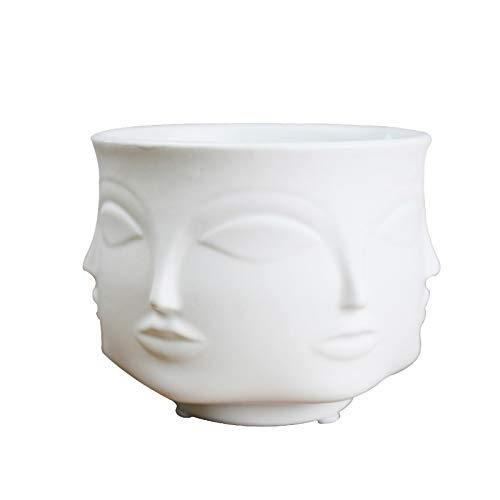 American Creative Design Planter 3d Face Multi-faceted White Nordic Ceramic Deco