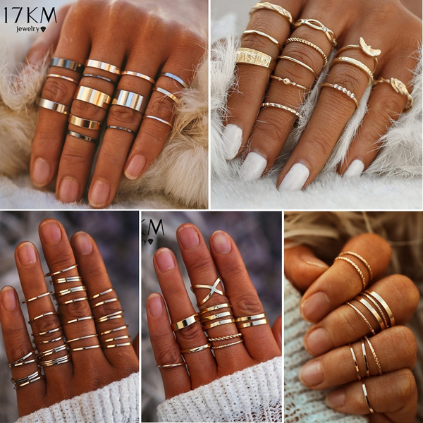 8/10/12/14/30 Pcs/Set Fashion Round Gold Color Knuckle Rings Set For Women Handmade Finger Ring Statement Female Jewelry by Wish