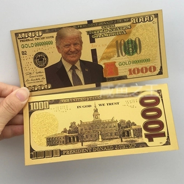 Donald Trump $1,000 Dollar Banknote Gold Paper Money
