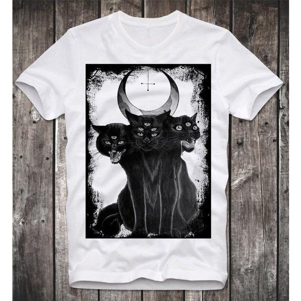 Three Headed Cat Satan Satanism Satanismus Anton Lavey Church of Gothic T  Shirt Mens Round Neck Fashion Clothing Short Sleeves T Shirt