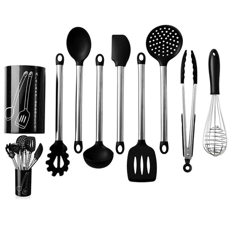 Аксессуары для кухни Набор кухонных принадлежностей с антипригарными силиконовыми головками 9 шт (Фото 1)
