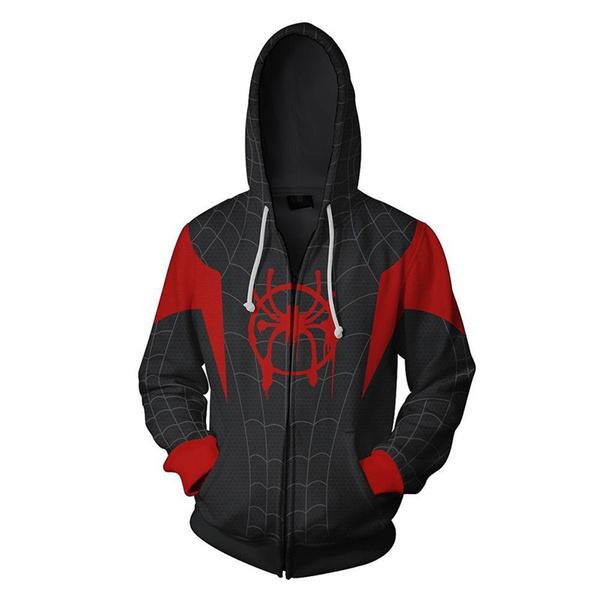 Cosplay Spiderman Into the Spider Verse Miles Morales Hoodie Coat Sweatshirts