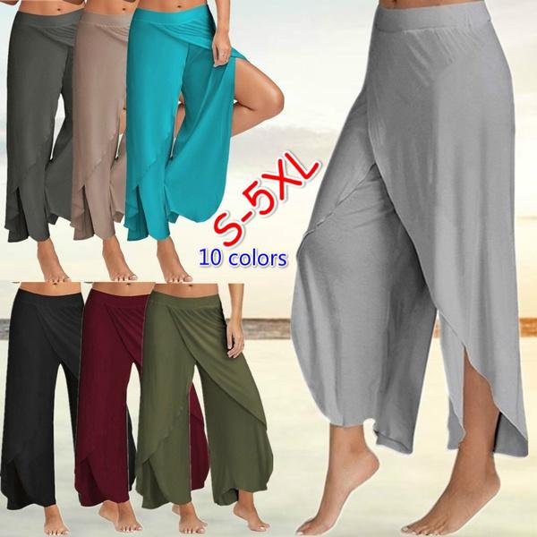 Women Pants, Cotton, Plus Size, wideleg