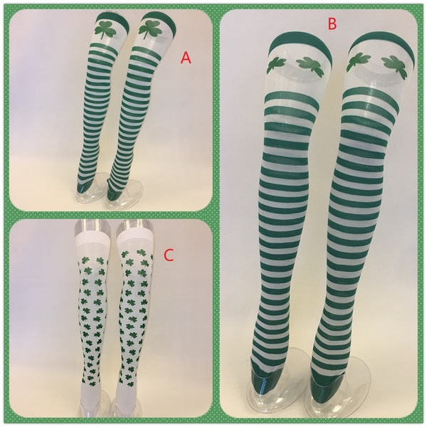 969c4b0a816 Green White Striped Thigh High Knee Stocking Socks for Costumes Accessories  for St Patricks Day Socks