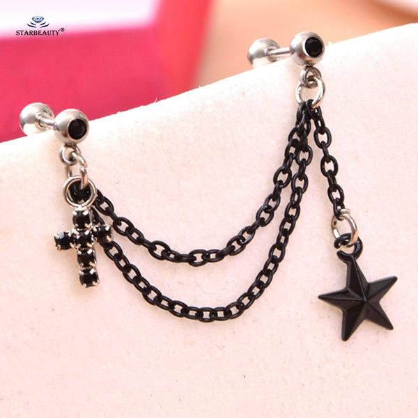 Black Cross Drop Earring Star Tassel Earrings Tragus Piercing
