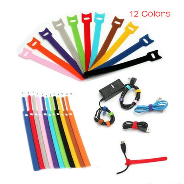 2c2da934897b 20pcs 12*150mm Reusable Nylon Velcro Strap Cable Ties Adhesive ...