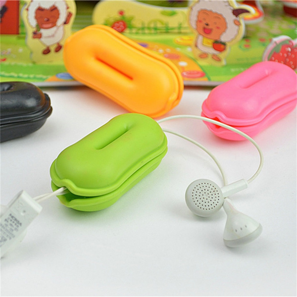 Silicone Mini Earphone Holder Carrying Hard Case Winder Stretch Earbud Storage