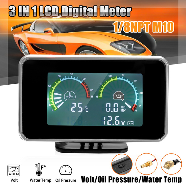 Auto Car Motorcycle 3 In 1 LCD Gauges Voltmeter Thermometer Water Oil  Pressure Temperature Voltage Digital Dashboard