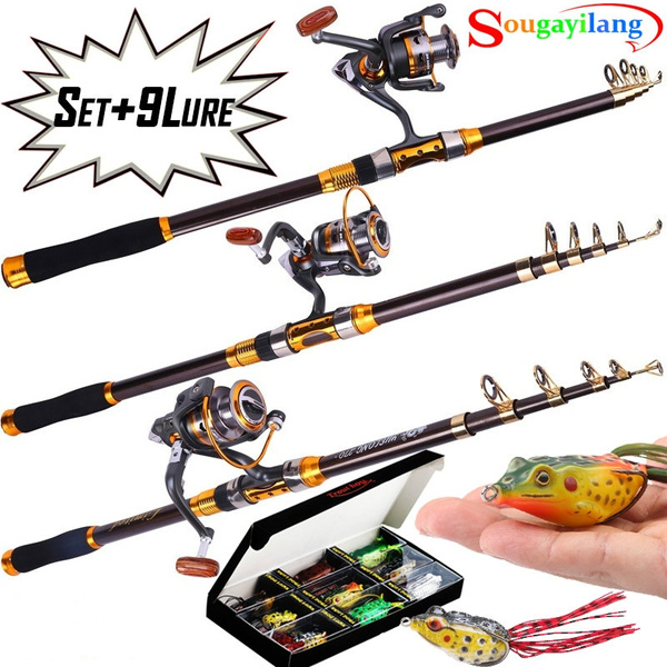 Fishing Rod Reel and Lure Set Carbon Spining Fishing Rod Pole with 11BB  Metal Reel and 9pcs Topwater Frog Lure Soft Crankbait Travel Sea Saltwater